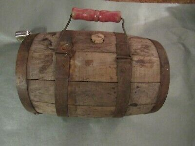 "Antique Small Primitive Whiskey Barrel Oak Wood Keg with center Handle 12 "" x 7"""