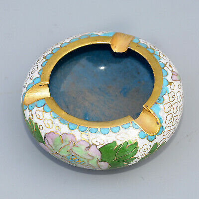 Collectable China Old Cloisonne Hand-Carved Bloomy Peony Flower Delicate Ashtray
