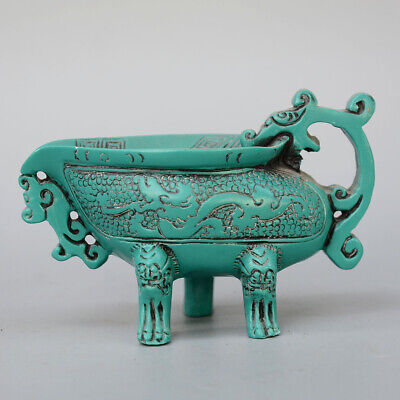 Collectable China Old Turquoise Hand-Carved Myth Dragon Moral Auspicious Tea Cup