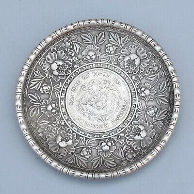 Collectable China Old Miao Silver Hand-Carved Flower & Myth Dragon Delicate Dish