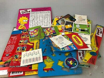 The Simpsons - Lots Of Various Items - Tattoos, Cards, Stencil, Empty Packaging