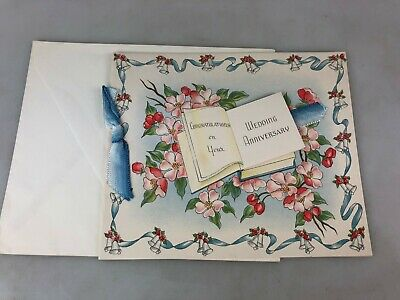 Vintage - Greeting Card - Wedding Anniversary With Envelope - Not Used