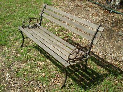 vintage cast iron & timber garden bench art deco style ends rustic timber slats