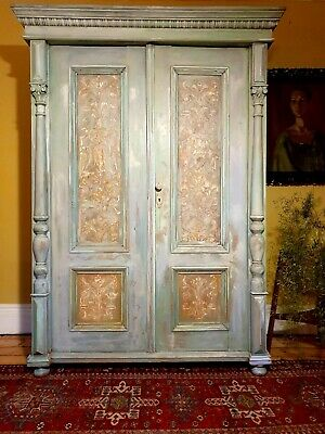 Vintage French Armoire / Wardrobe With Inlaid Boisorie Panels