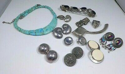 Lot Of Sterling Silver Jewelry Plus Turquoise Necklace 6.4 Troy Ounces
