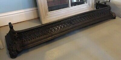 "Antique Cast Iron Victorian 42.5"" Fireplace Fender - Hearth Fire Surround Guard"