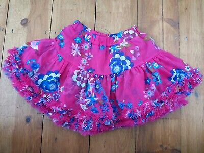 Joules Girls Skirt 5-6 Yr Old Floral Pink