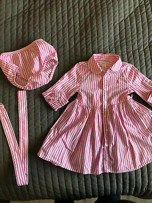 Ralph Lauren Baby Girls Polo Dress And Knickers. Pink 12 Months