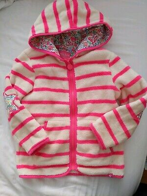 Joules Girls Zip Up Hoodie 5-6 Years Pink And Cream Floral Lining
