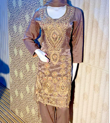 Linen Suit  Embroidered stitched salwar kameez hand stone work for EID £25