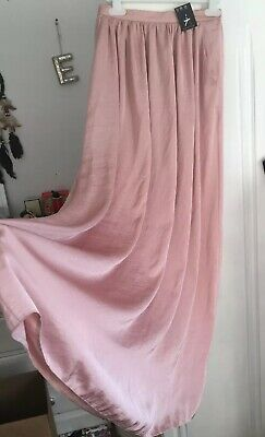 Womens Pink Maxi Skirt Satin Brand New With Tags Primark Size 8