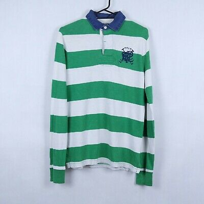 RALPH LAUREN Vtg Mens Green Striped Custom Fit Long Sleeve Polo Shirt SIZE Small