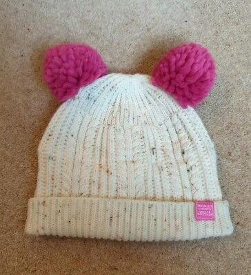 JOULES Ailsa Girls Age 4-7 yr Knit Winter Cream & Pink Double Pom Pom Bobble Hat