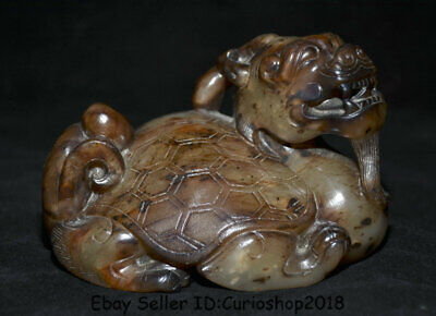 "4.6"" Good Old China Han Dynasty Hetian Jade Carved Dragon Turtle Animal Statue"