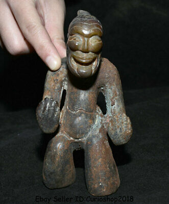 "5.2"" Old China Natural Han Dynasty Hetian Jade Carved Ancient Person Man Statue"