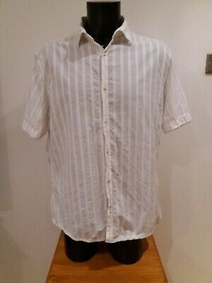 Xl Mens Next Short Sleeve White Cotton Shirt Striped Holiday Summer O