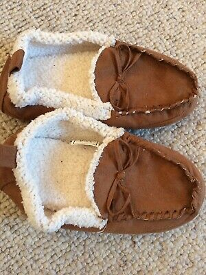 SlumberzzZ Boys Plaid Check Fleece Lined Moccasin Slippers