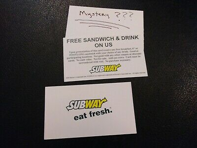 Subway Free Sandwich & Drink Voucher + (1) Mystery Combo Meal Voucher,No Expir.