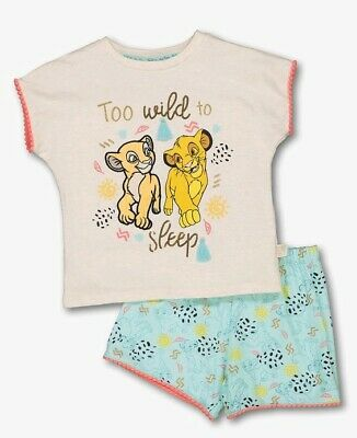 BNWT Disney Lion King Girls 3-4 Short Pyjama 2pc Set Embellished Sequin Sparkly