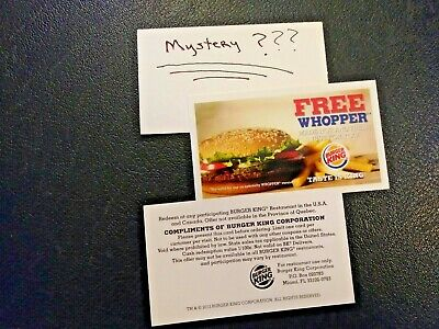 (5) Burger King Whopper Vouchers +1 Mystery Voucher (No Expiration) Free Ship