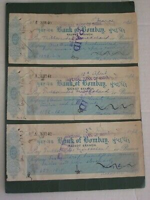 Ephemera -  3 x Vintage 1922 Bank of Bombay, Rajkot Branch, Indian Cheques