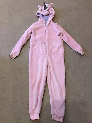 M&S Girls Unicorn Pink Fleece All In One Sleepsuit PJs Age 9-10 Great Condition!