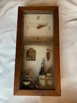 Vintage Antique Reproduction WALL CLOCK. Rustic, Shabby Wine Foodie Kitchen