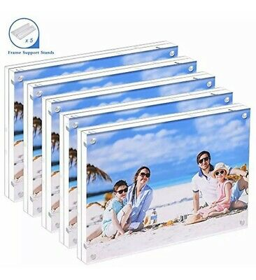 - Wall & Tabletop Frames 5 Pack Acrylic Picture 5x7 Clear Double Sided Magnetic