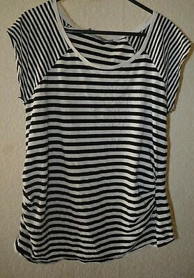 New Look Maternity T-Shirt Top Crew Neck Short Sleeves Striped Size 10 38 Cotton