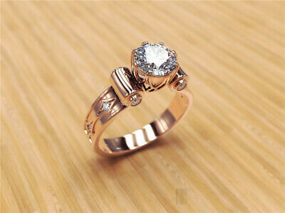 Graceful 18K Rose Gold Plated White Topaz Solitaire Ring Women Wedding Party Sz7