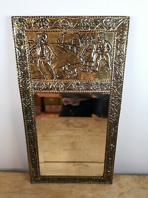 VINTAGE 1930s REPOUSSE PRESSED BRASS WALL DRESSING MIRROR COUNTRY SCENE