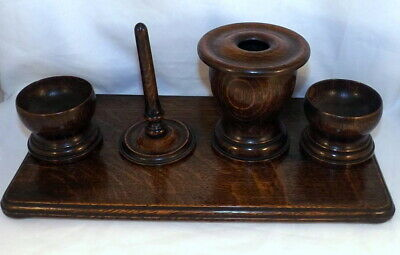 Antique Treen - Turned Wood 5 Piece Dressing Table Set