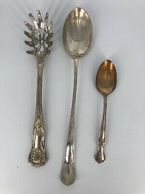 (3) Silver Plated Serving Utensils - Pasta Spoon Italy - Old Co. Spoon - Plus 1