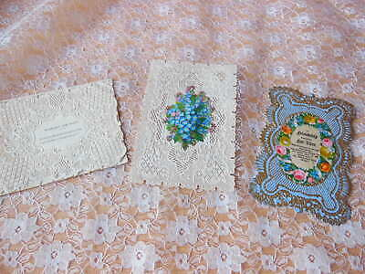 3 Victorian Paper Lace Valentine Cards