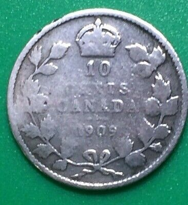 1909- Canadian 92.5% Silver dime - Canada 10 cent Edward VII