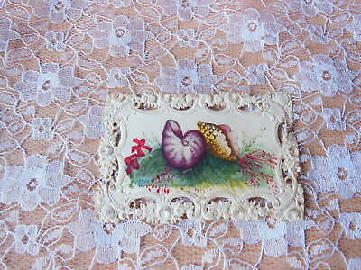 Early Victorian Greeting Card/Pierced Edging/Shells