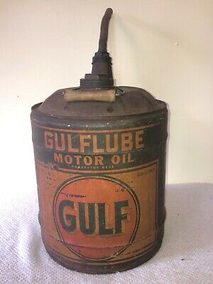 Old Vintage GULFLUBE 5 Gallon Motor Oil Can Gulf Gas Service Station Advertising