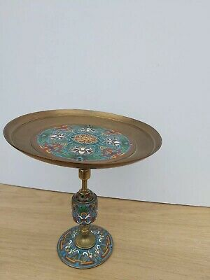 Antique French Champleve Enamel Centrepiece Taza Gilt Bronze Barbedienne Foundry