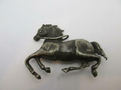 Antique Victorian C1880 Sterling Silver Plate Galloping Horse Brooch K83  Pin