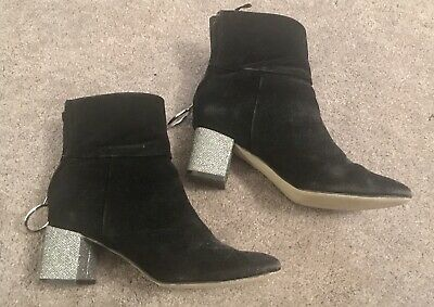 H&M Girls' Black Ankle Boots UK Size 4, Eur 37 Zip Up Silver Heels