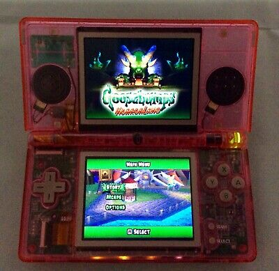 Nintendo DS Lite console New CLEAR PINK shell with usb charger & Game