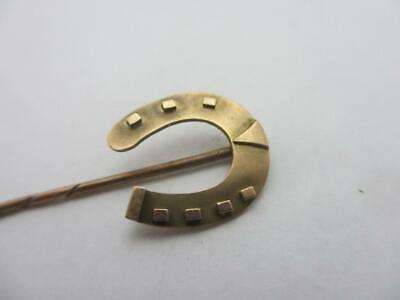 GOOD Lucky Horseshoe 9k Gold Stick Pin Brooch Antique English Victorian k100