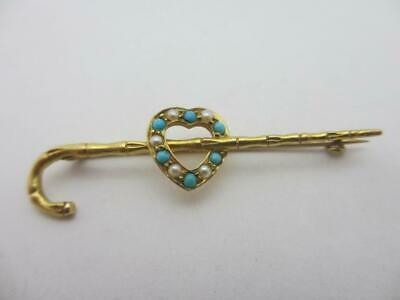 Turquoise Seed Pearl Heart Cane 18k Gold Brooch Pin Antique Victorian. K101