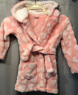 Girls Pink Soft Fluffy Dressing Gown/ Robe/ housecoat. Age 2-3