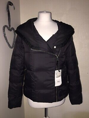 Black Zara Down Puffa Padded Coat Jacket Lightweight Hood  Small 8 10 Bloggers