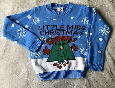 Girls Size 11-12 Years Little Miss Christmas Festive Jumper Sweater