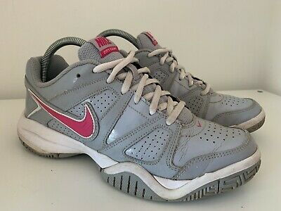 Nike City Court 7 Trainers Patent Grey & Pink UK 5.5 EUR 38.5 Tennis Shoes