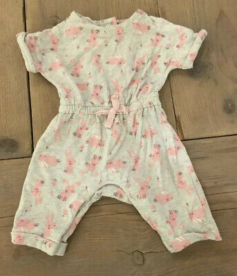 Matalan Baby Girl Playsuit/Jumpsuit Grey With Pink Rabbits Size Newborn