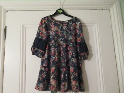 5-6 yrs: Lovely black floral viscose dress: NEXT:  Combine postage: Good cond.