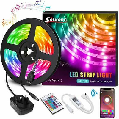 5m LED Strip Lights Rope RGB Light with Remote & Smart App Control A+ Efficient